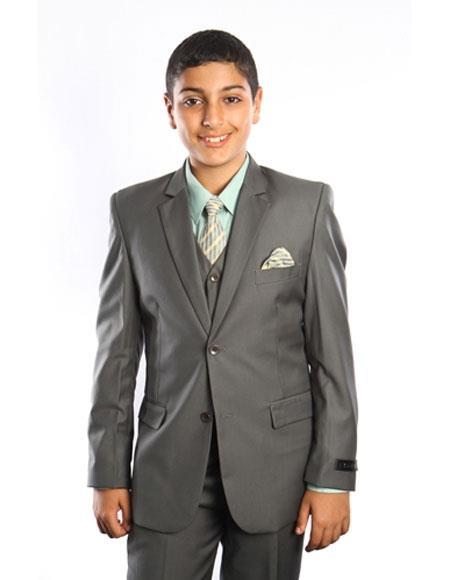 Boy's Kids Toddler Color Children Suits Vested 2 Button Solid Grey