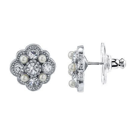 Downton Abbey By 1928 Jewelry 1/2 Inch Stud Earrings, One Size , Silver