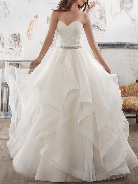 Milanoo Wedding Dresses 2020 Ball Gown Sweet Heart sleeveless Floor Length Asymmetry Hem Tulle Bridal Gown