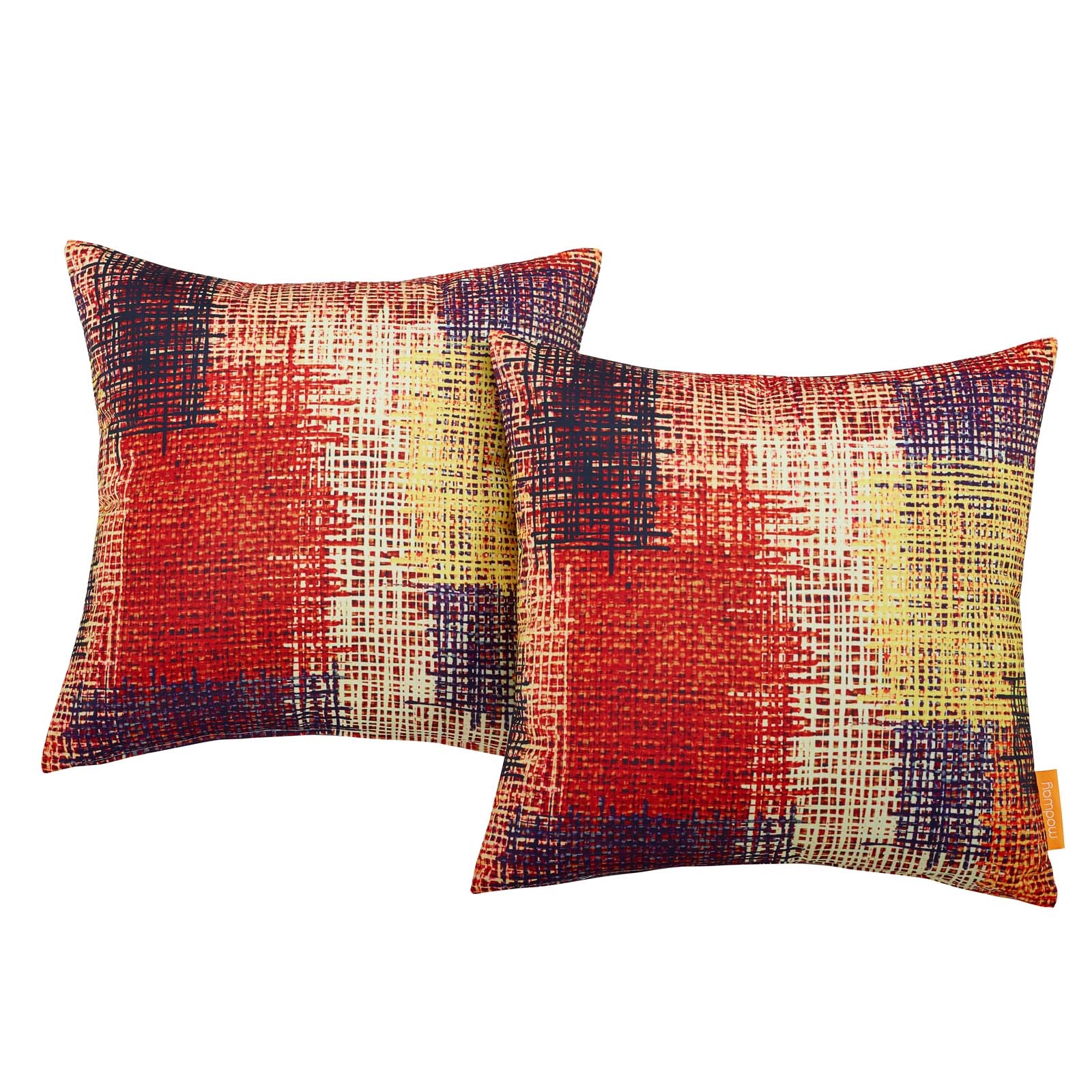 Modway Two Piece Outdoor Patio Pillow Set in Patch