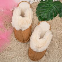 Round Toe Fur Lined Suede Warm Slippers