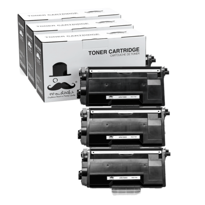 Compatible Brother TN880 Black Toner Cartridge by Moustache, Extra High Yield - 3 Pack