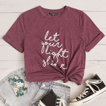 Marled Knit Rolled Sleeve Slogan Graphic Tee
