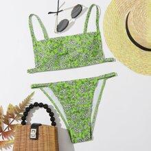 Bañador bikini tanga floral de margarita