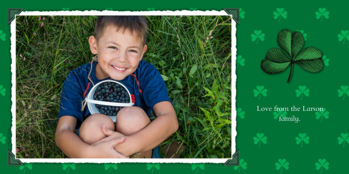 St. Patrick's Day Cards Flat Matte Photo Paper Cards with Envelopes, 4x8, Card & Stationery -Charming Shamrocks