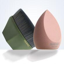 1pc Water-drop Makeup Sponge & 1pc Foundation Brush