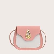 Girls Color Block Saddle Bag