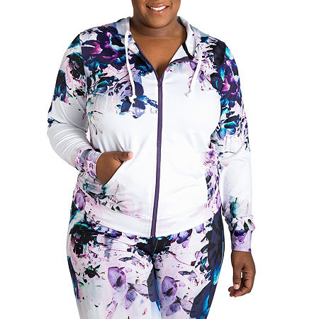 Poetic Justice Printed Active Zip Front Track Jacket - Plus, 1x , Multiple Colors