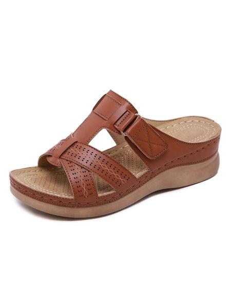 Milanoo Sandalias planas para mujer Hebilla Flat PU Leather Comfy