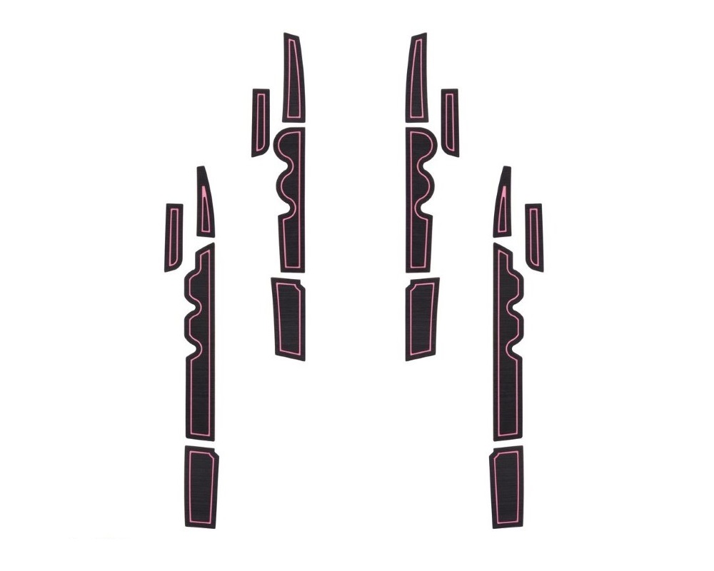 Tufskinz TUN007-FPN-X Side Door Pocket Inserts Fits 2007-2020 Toyota Tundra 16 Piece Kit In Black/Pink