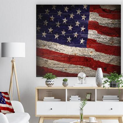 WD12907-46-36 Large American Flag Watercolor - Abstract Print On Natural Pine Wood -