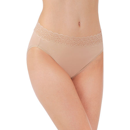 Vanity Fair Flattering Lace Cotton Knit High Cut Panty 13395, 9 , Beige