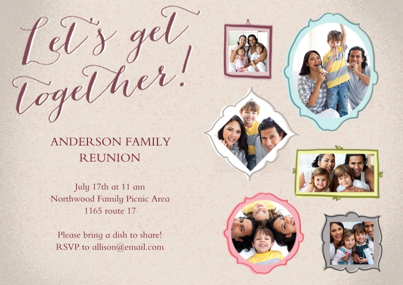 Party Invitations Flat Matte Photo Paper Cards with Envelopes, 5x7, Card & Stationery -Family Reunion