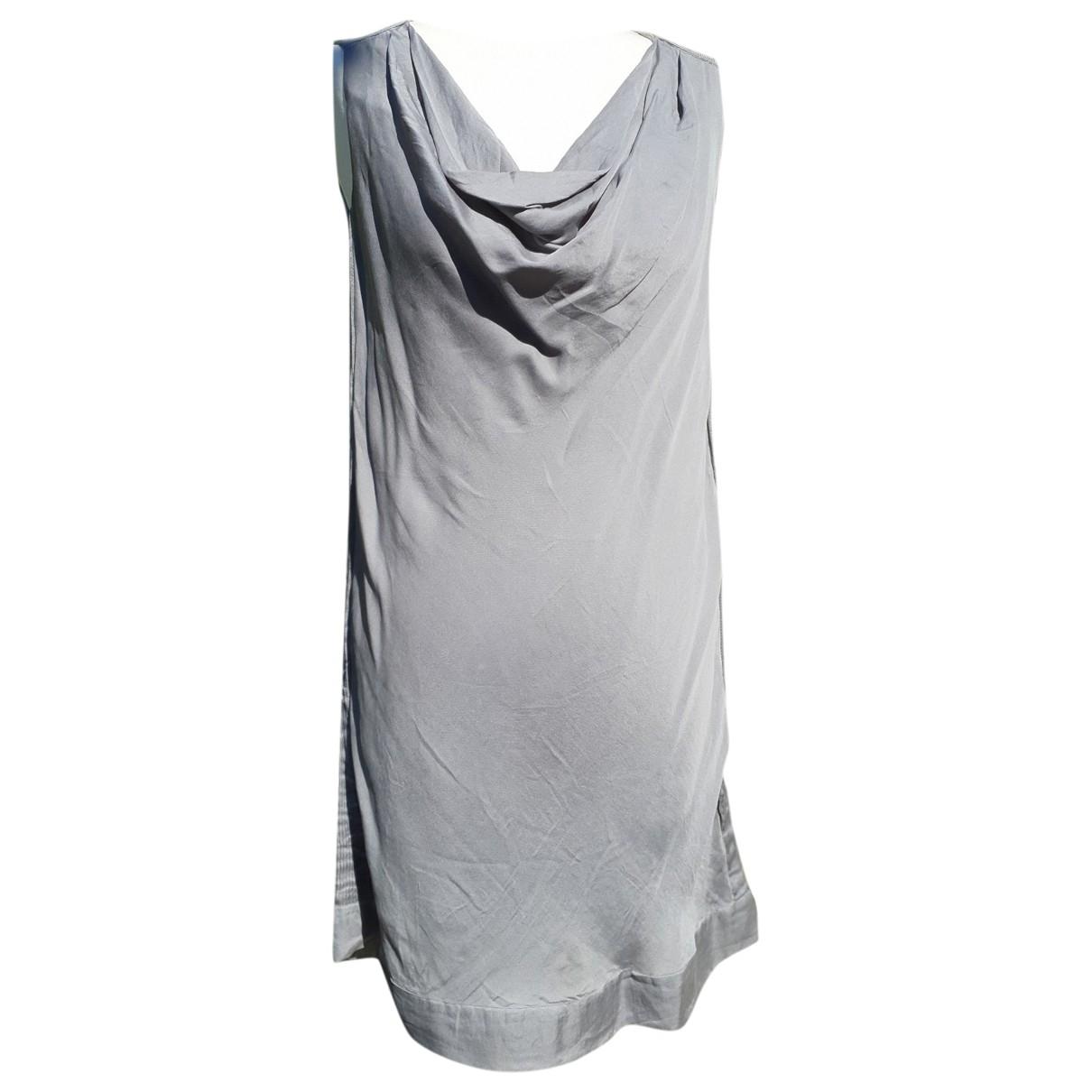 Massimo Dutti - Robe   pour femme en soie - gris