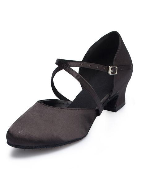 Milanoo Latin Dance Shoes Red Round Toe Puppy Heel Ballroom Dance Shoes For Women