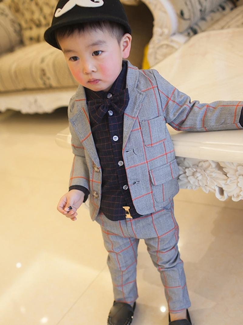 Ericdress Plaid Notched Lapel 2-Piece of Boy's Suit
