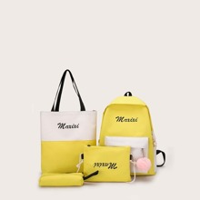 Color Block Letter Print Backpack With Clutch 4pcs
