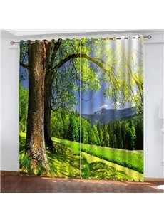 Thick Polyester Heat-Proof and Lightproof 3D Scenery Curtains with Green Trees Pattern