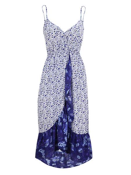 Milanoo Boho Dress Straps Neck Sleeveless Beach Dress