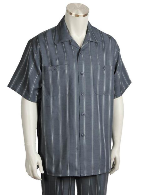 Mens Button Fastening Centerline Stripe Short Sleeve Walking Suit