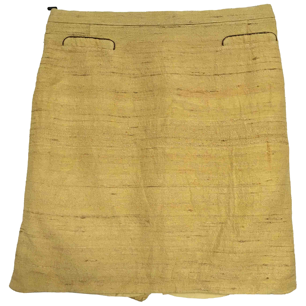 Non Signé / Unsigned Hippie Chic Yellow Cotton skirt for Women M International