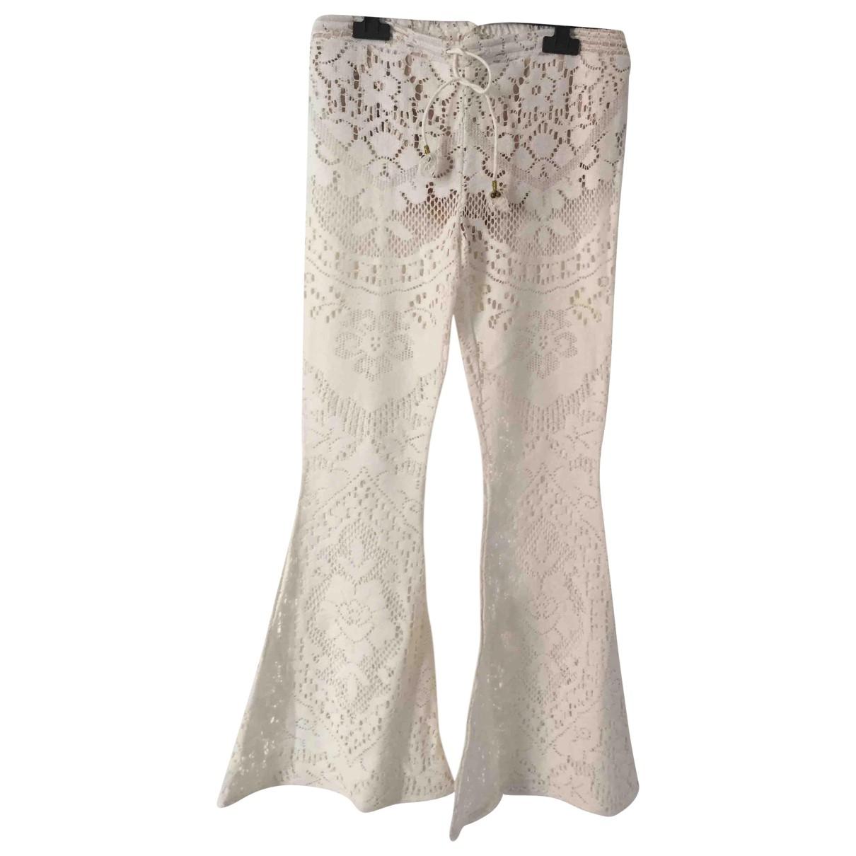 - Pantalon   pour femme en coton - ecru
