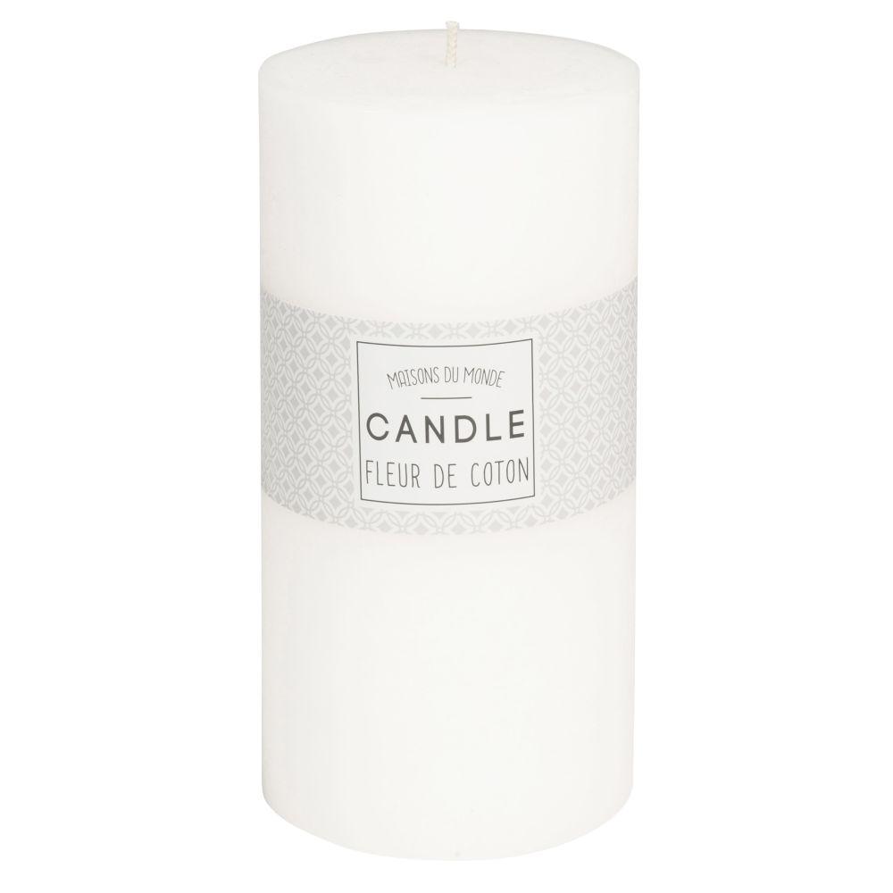Zylindrische Kerze weiss 9 x 18 cm