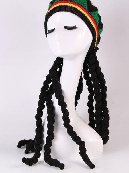 Milanoo Rasta Hat With Black Dreadlocks Wig Rasta Wig Halloween