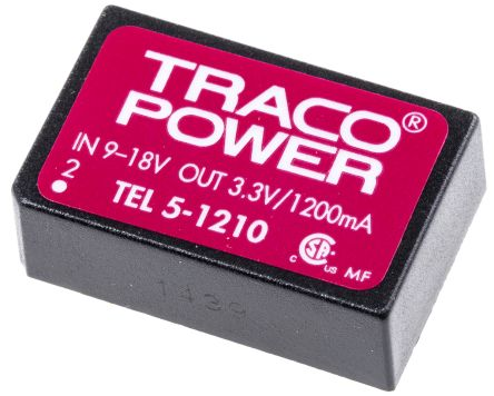 TRACOPOWER TEL 5 5W Isolated DC-DC Converter Through Hole, Voltage in 9 → 18 V dc, Voltage out 3.3V dc