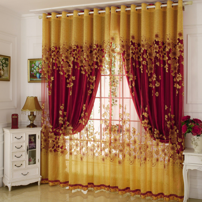 Floral Pattern Jacquard Technics Polyester Material Curtain Sets