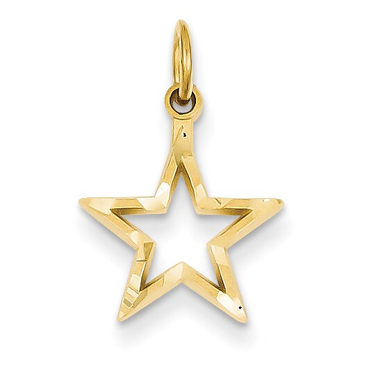 14K Yellow Gold Diamond Cut Star Charm with 18-inch Cable Rope Chain by Versil (Yellow - 18 Inch)