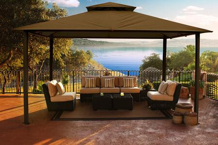 Kingsbury GZ584S 11 x 14 Gazebo with Cocoa Color Sunbrella Top  Rust Free Aluminum Material and Powder Coated