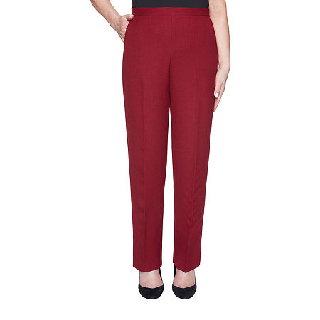 Alfred Dunner Madison Avenue Womens Straight Pull-On Pants, 12 Petite Short , Red