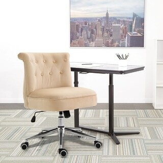 Velvet Home Office Chair With White PU caster (Beige)