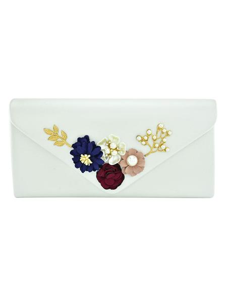 Milanoo Bolso de novia elegante para fiesta formal con flor con cierre de boton en la parte delantera de cuero sintetico