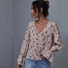 Flounce Sleeve Button Front Floral Top