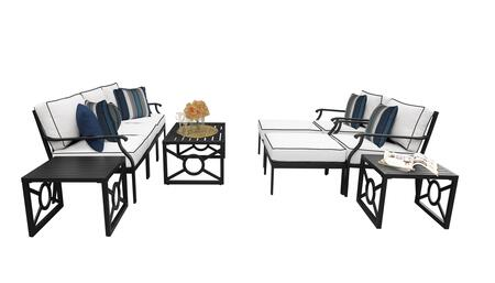 MADISON-10c-SNOW Kathy Ireland Homes and Gardens Madison Ave. 10 Piece Aluminum Patio Set 10c with 2 Sets of Snow