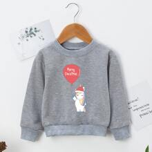 Toddler Girls Christmas Print Slogan Graphic Sweatshirt