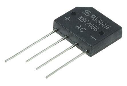 Taiwan Semiconductor KBP205G C2, Bridge Rectifier, 2A 600V, 4-Pin KBP (10)