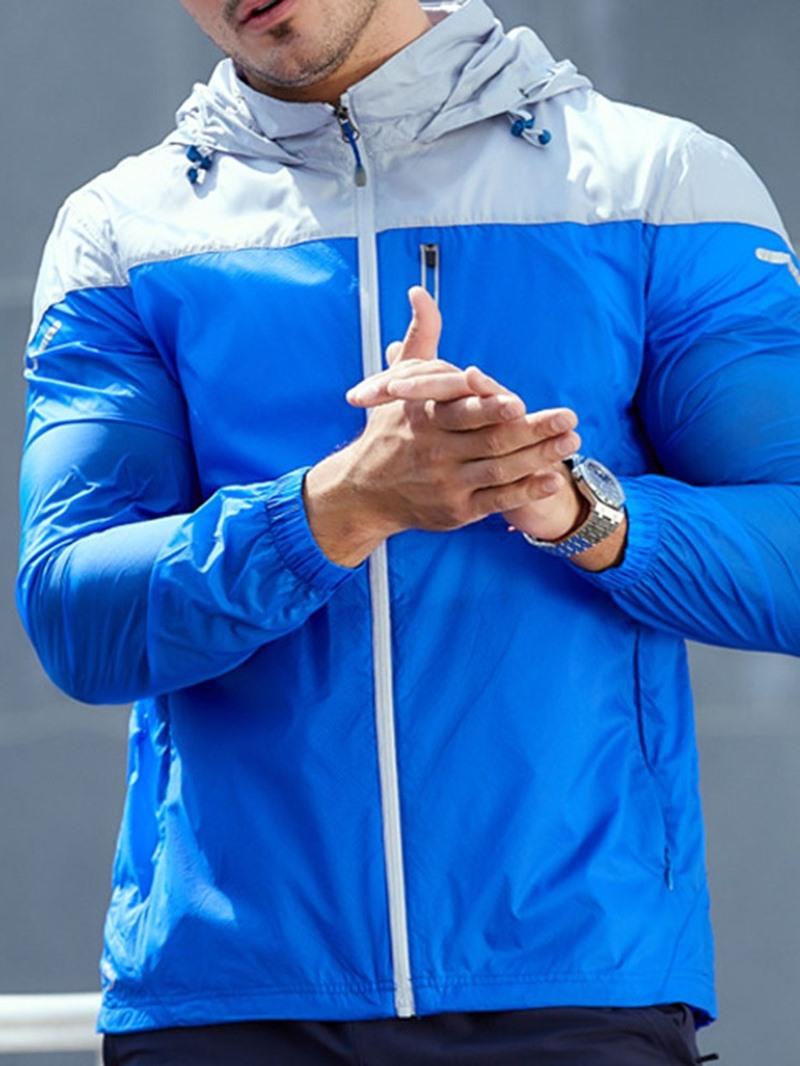Ericdress Patchwork Color Block Stand Collar Zipper Fall Jacket