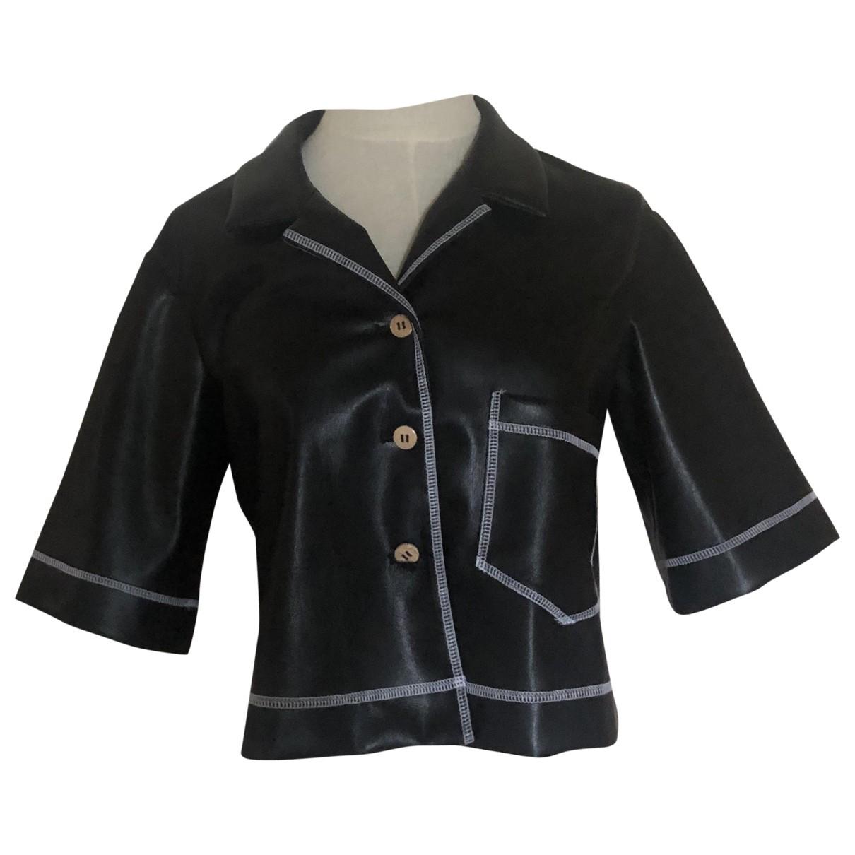 Nanushka - Top   pour femme en cuir - noir