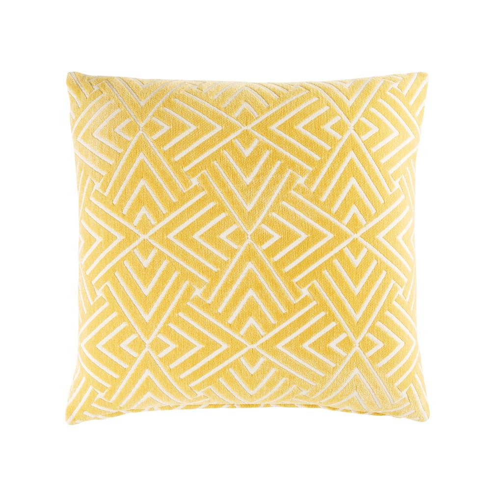 Gelbes Kissen mit weissen grafischen Motiven 45x45
