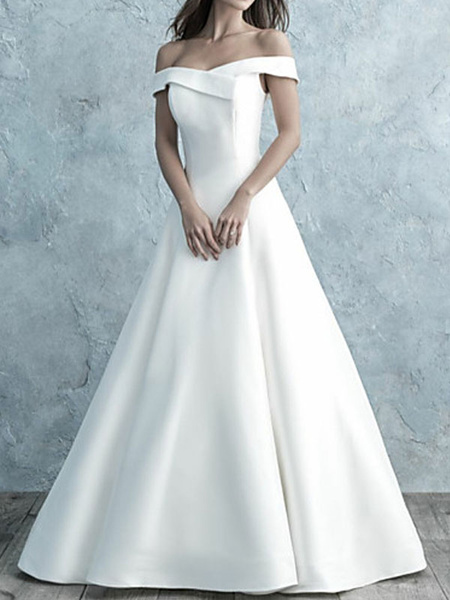 Milanoo Simple Wedding Dress Off The Shoulder Matte Satin Short Sleeves Buttons A Line Bridal Gowns