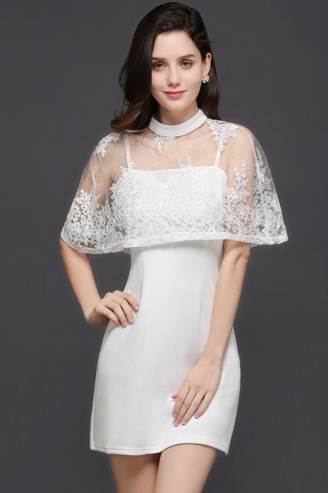CLARE   Vestido de fiesta blanco de columna hasta la rodilla de cuello alto