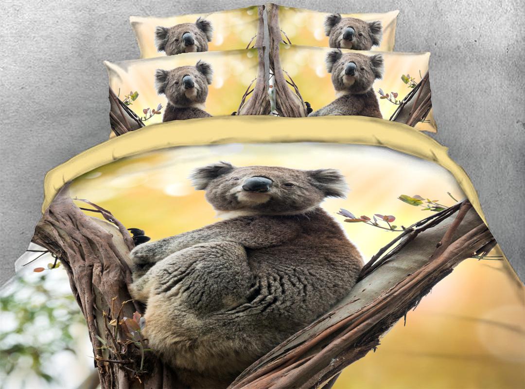 3D Koala 4-piece No-fading Bedding Sets Durable Animal Print Bedding Zipper Duvet Cover with Non-slip Ties