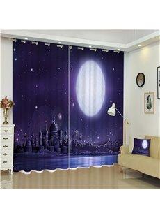 Grand Castles under Bright Moonlight Purple Night Scenery 2 Panels Custom Curtain