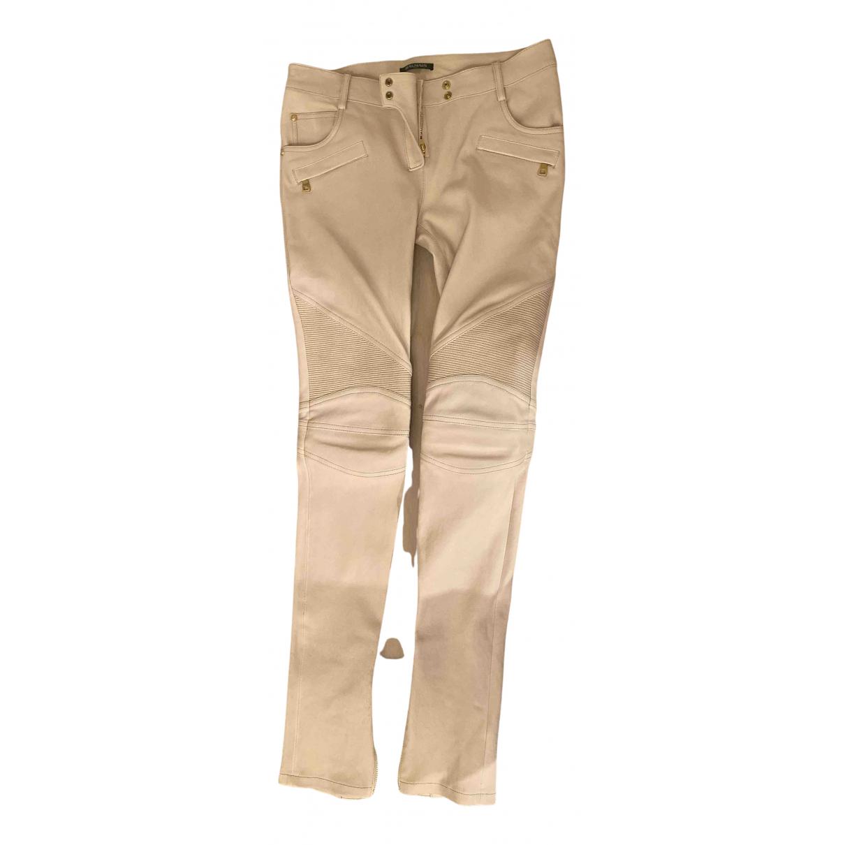 Balmain - Pantalon   pour femme en cuir - beige