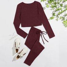 Einfarbiges Strick Crop T-Shirt & Leggings mit Knoten