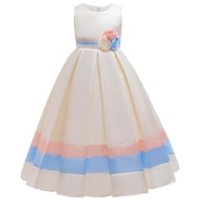 Girls Stereo Flower Contrast Panel Gown Dress