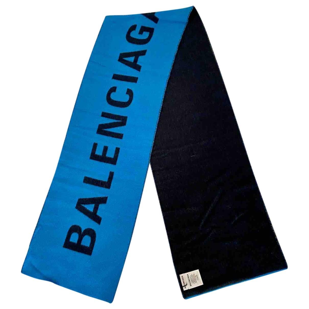 Balenciaga - Cheches.Echarpes   pour homme en laine - bleu